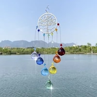 glass crystal prisms catcher moon tree of life colorful rainbow hanging drop pendant charm for outdoor garden decor home gift