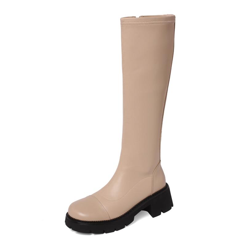 Geunine جلد حذاء برقبة للركبة النساء جولة تو منصة التمهيد الإناث الأسود المشمش البيج سستة 6 سنتيمتر ساحة الكعوب أحذية 2021 جديد
