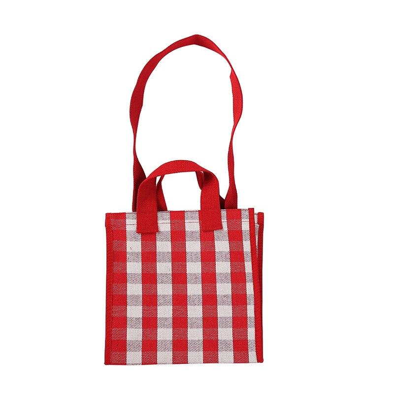 Frauen Plaid Leinwand Tote Tasche Retro Mädchen Große Durchführung Mittagessen Box Schulter Einkaufstasche Rot Blau Farbe Tropfen Verschiffen großhandel