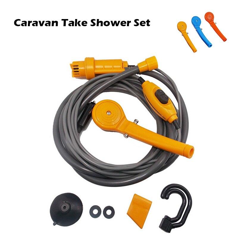 12V Portable Caravan Outdoor Shower Set Handheld Washer Car Water Gun Pump Travel Pet Dog Take Shower Set RV Camper Accessories
