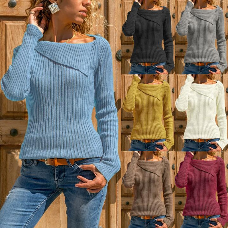 Fashion Knitted Sweater Ladies Sweater Long Sleeve Sweater Shirt Shirt Casual Pullover Sweater Patchwork