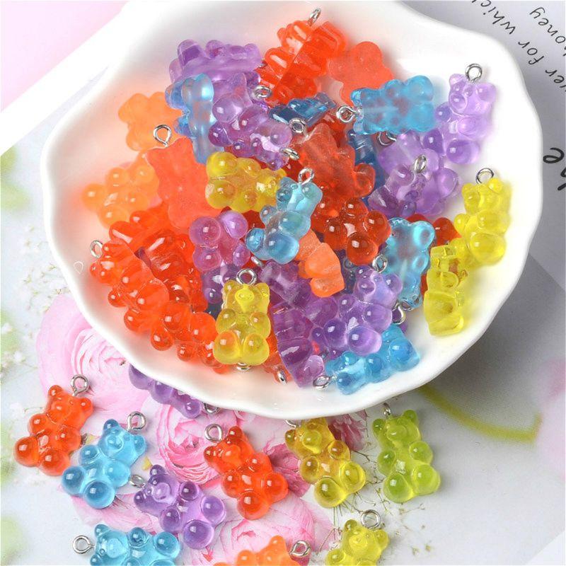 50 Uds. Oso caramelo lindos abalorios de resina DIY parche hallazgos Gummy pendientes llavero, collar