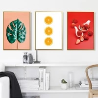 nordic refresh fruits leaf strawberry orange wall art prints canvas paintings wall art prints and posters for kitchen home decor