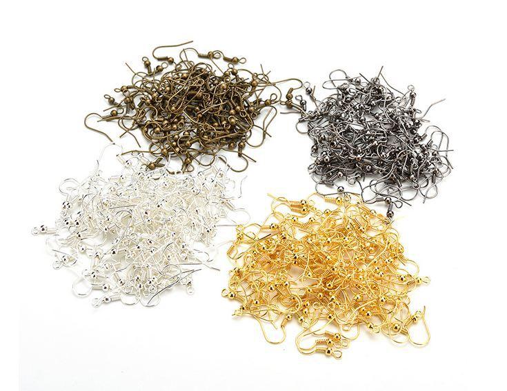 Ganchos para pendientes hipoalergénicos de acero inoxidable 100 Uds. Con bobina y bola para la fabricación de joyas