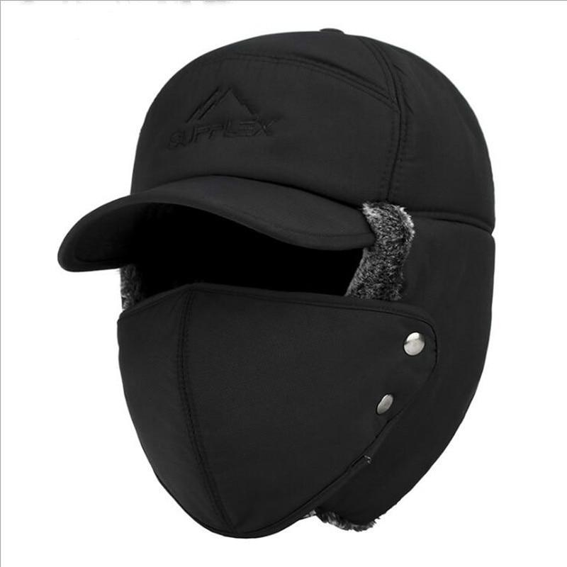 Trend Winter Thermal Bomber Hats Men Women Fashion Ear Protection Face Windproof Ski Cap Velvet Thic