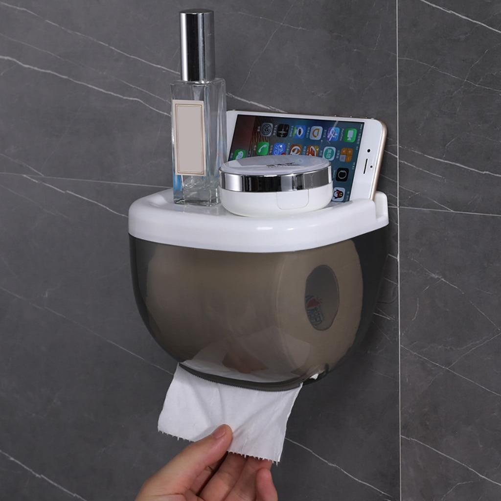 Estante de papel para teléfono móvil toallero impermeable soporte de papel higiénico estante de almacenamiento para teléfono móvil estante montado en la pared nuevo