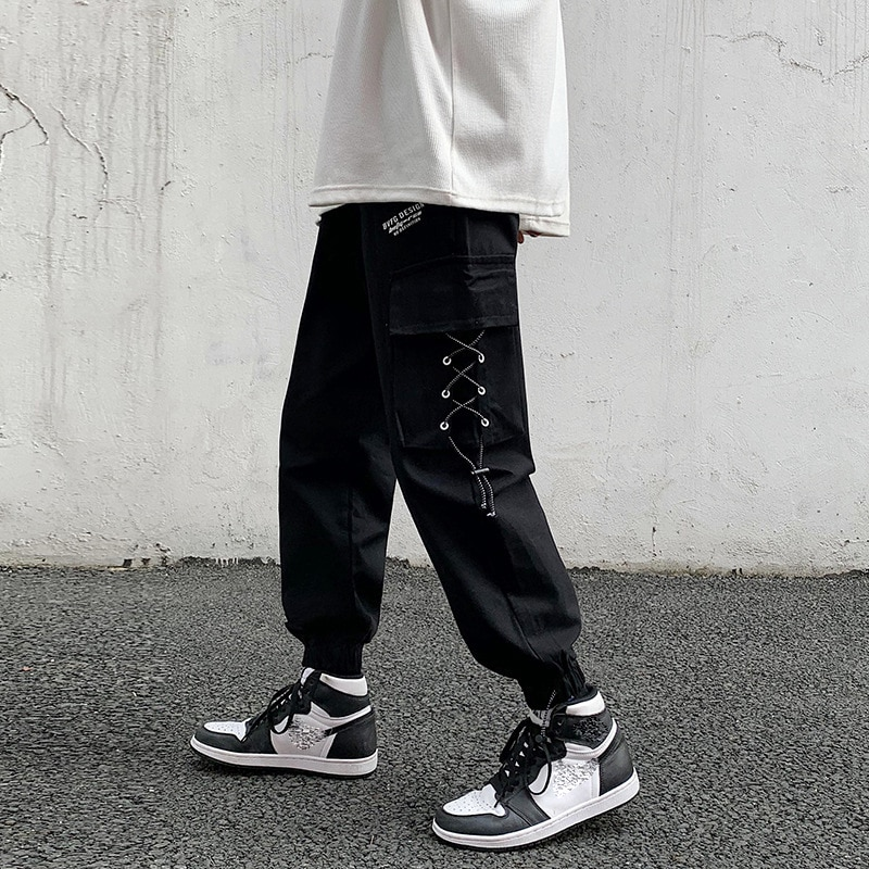 Pants Men Kargo Student Oversized 5XL Hip Hop Streetwear Joggers Casual Cargo Pant Trousers Elastic Waist Loose Pant Man Boys