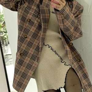Spring and autumn 2021 thick embroidered sweater mid length super elastic irregular hem wool dress
