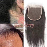 ms merry real hd lace closure 55 hd lace with baby hair striaght lace closure hair extension brazilian raw virgin human hair
