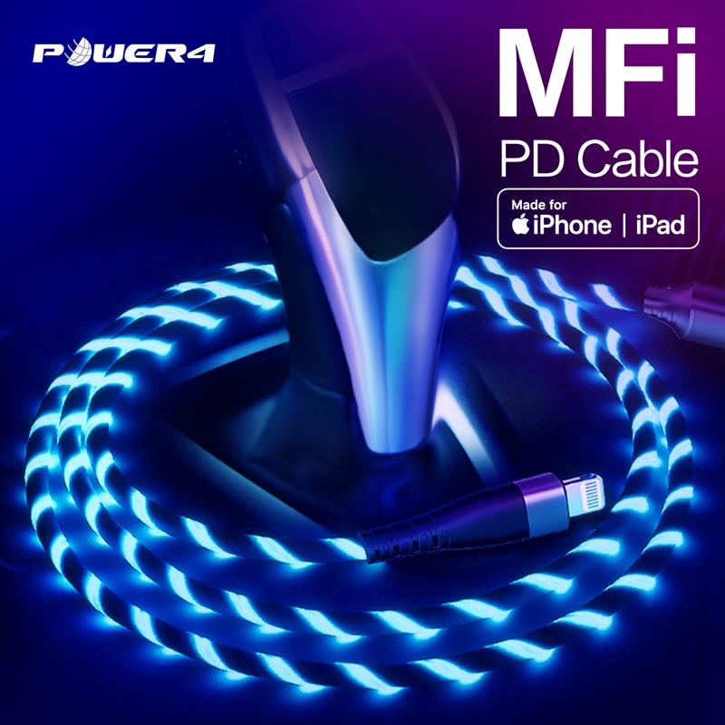 Power4 MFi USB-C A Lightning Cable 18W PD certificado por Apple Cargador rápido para iPhone11 Pro Max X XS X 8 XR iPad Macbook Cable de tipo C
