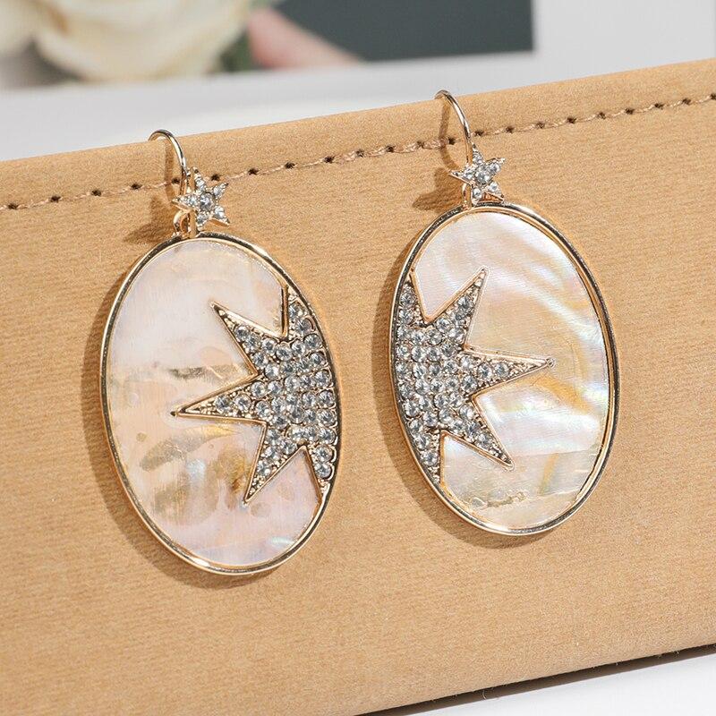 Nuevo diseño, Pendientes colgantes de estrella de diamantes de imitación con forma ovalada para mujer, pendientes de declaración de resina geométrica Vintage, joyería de fiesta