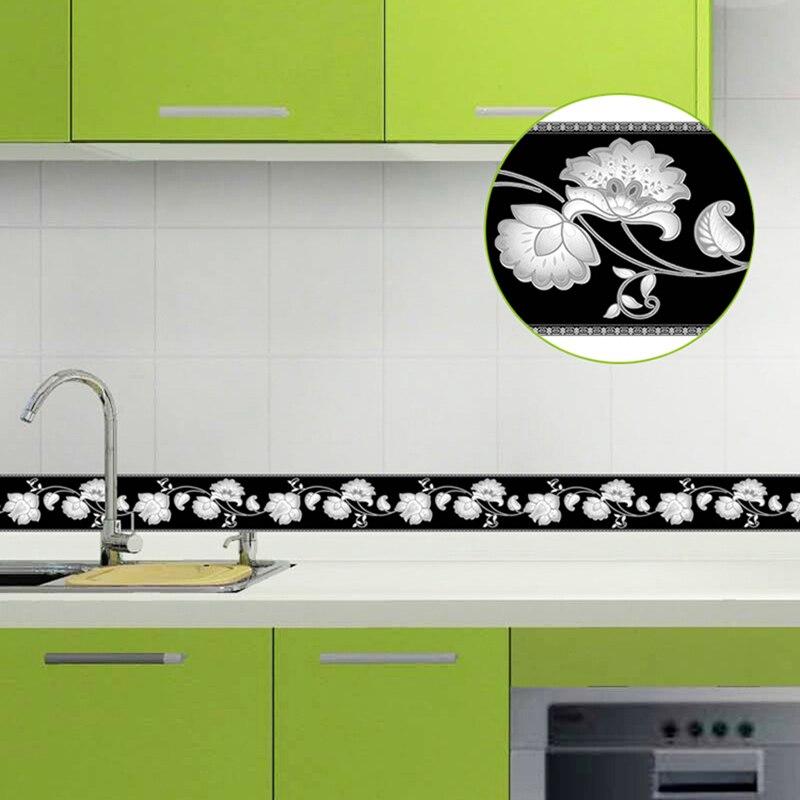 Placa base autoadhesiva de 5M, resistente al agua, para sala de estar, baño, cintura, borde, cocina, azulejos, pegatinas de pared, papel de pared moderno, bordes