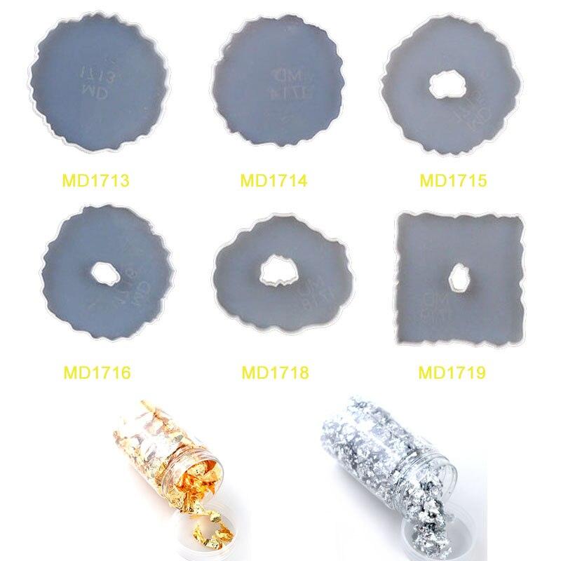 8 Uds molde de posavasos de silicona epoxi Irregular soporte de taza de té Molde de resina epoxi joyería DIY Material de proceso de la hoja de oro de resina