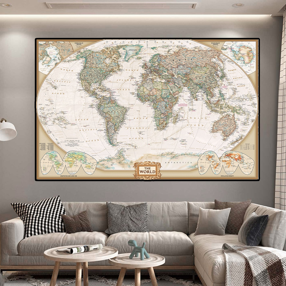 colorful world map wall decor 150x225cm large world map office supplies detailed antique poster wall chart for culture supplies 150*100cm The World Map Vintage Decor Non-woven Canvas Painting Foldable Wall Art Poster School Supplies Home Decoration