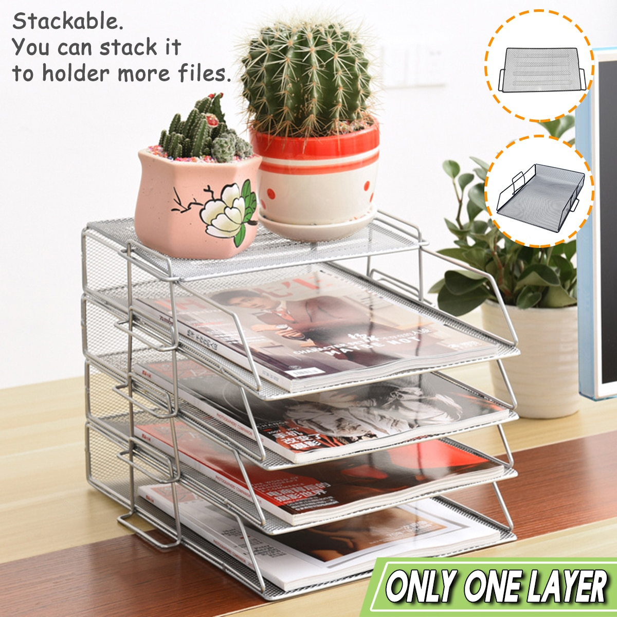 Stackable Iron Mesh A4 Paper Organizer Document File Storage Basket Holder Desktop Office Book Magazine Newspaper Storage Tray