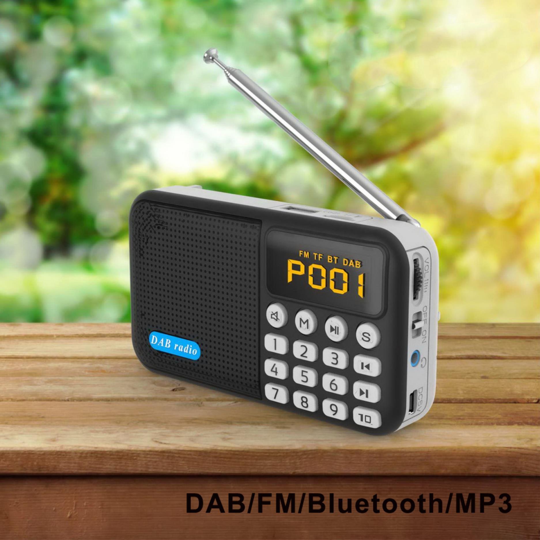 Multifuncional portátil radio digital DAB portátil DAB radio Bluetooth MP3