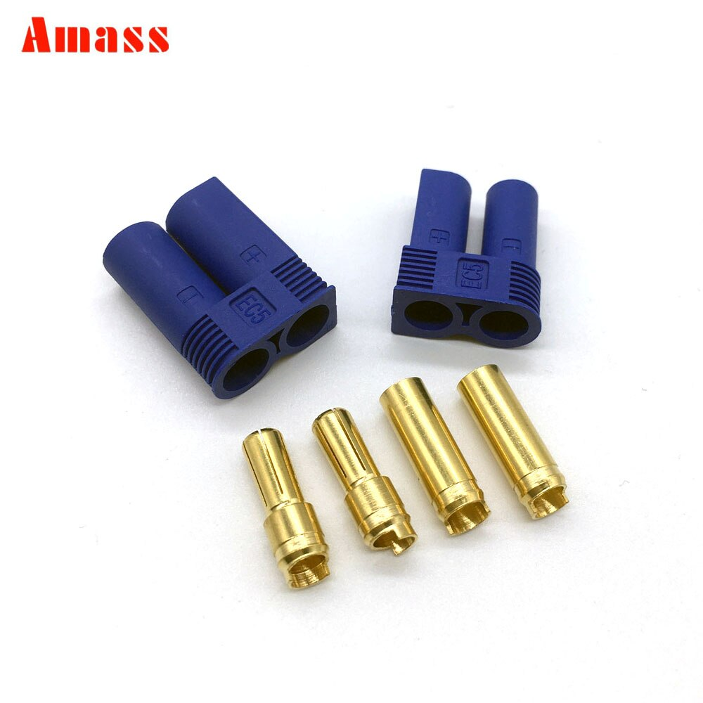 5 Pairs/10 Pairs Amass  EC5 Plug Male and Female 6mm golden Plated Bullet Connector for RC ESC Battery 10 pairs t plug male