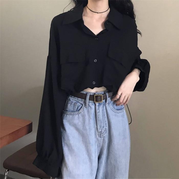 Black Shirt Women's Design Sense Niche Machine Short Top Spring and Summer New Long Sleeves Outerwea