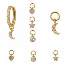 1 stücke Einfache Nette Sterne Mond Herz Tropfen Ohrringe Anhänger Frauen Gold Silber Kristall Mond Runde Zirkon Anhänger Ohrringe Schmuck a30