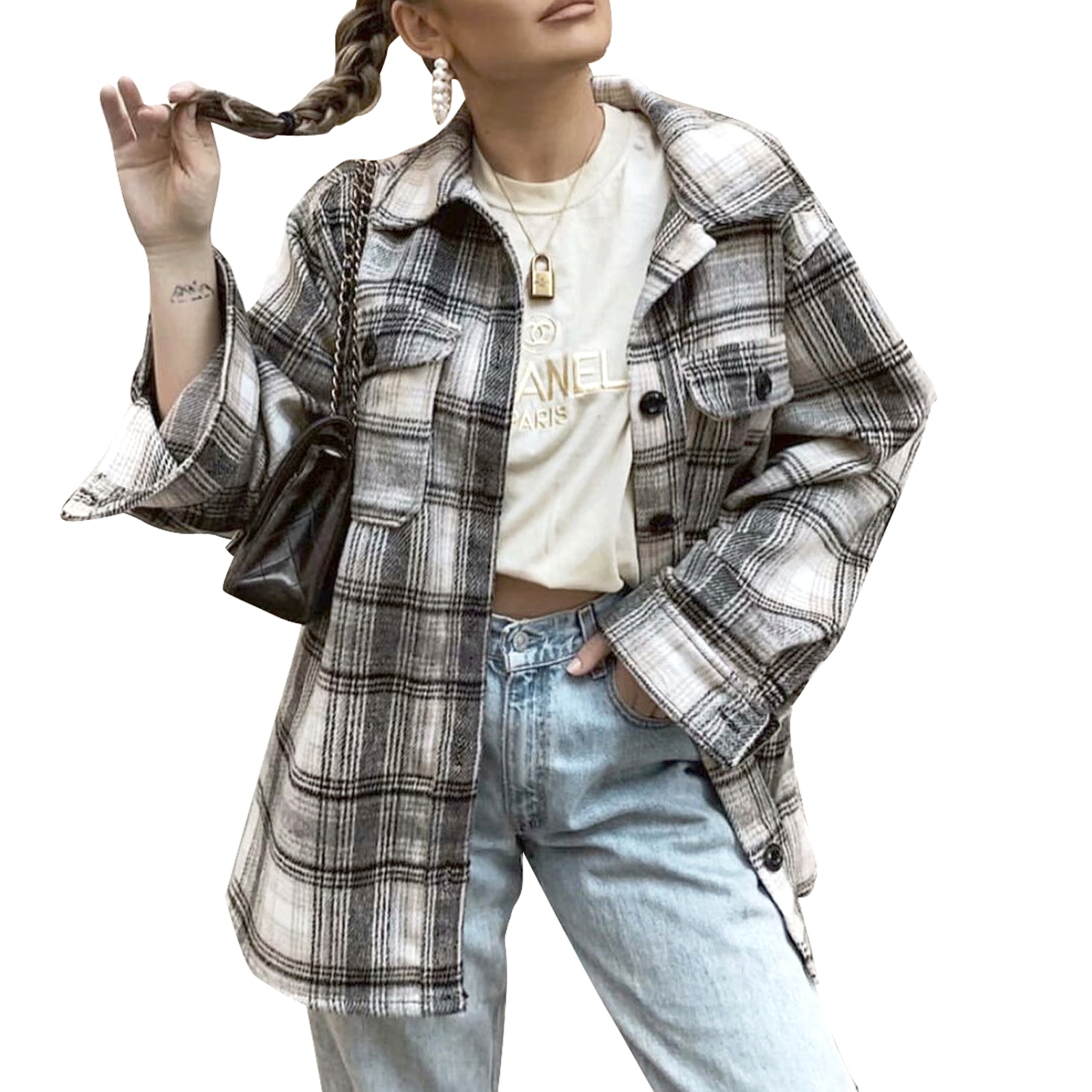 Women's Button Down Jacket, Classic Long Sleeve Plaid Print Loose Coat with Front Pockets