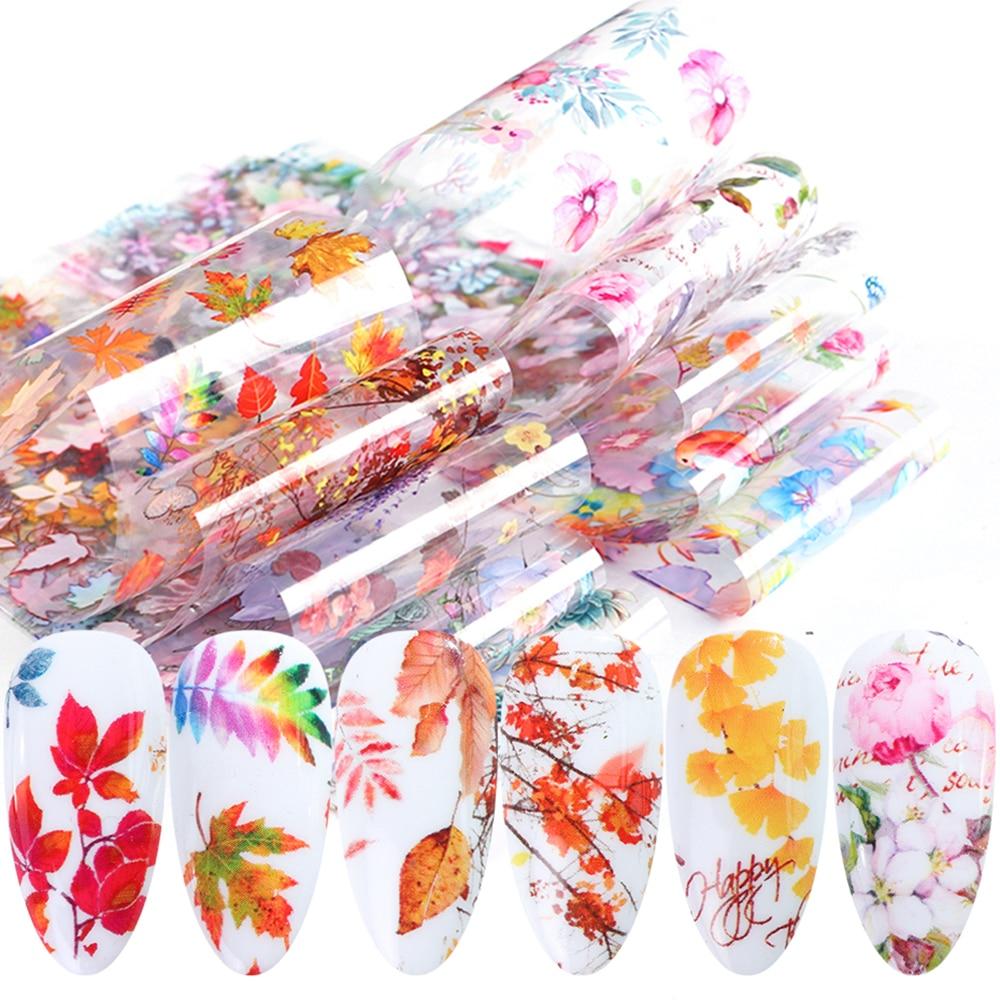Ferramentas para arte em unhas, linha de outono para manicura, adesivos de flores, decalque de unhas, primavera e dia dos namorados, ponta de tranfer 202020
