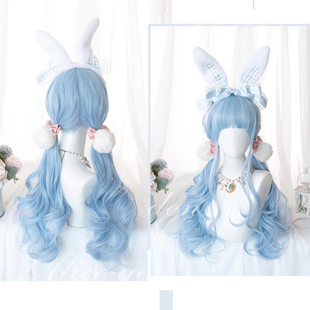 Cosplaymix 70 cm halloween festa de natal lolita onda longa azul bonito dia das bruxas cabelo sintético com franja peruca cosplay feminino + boné