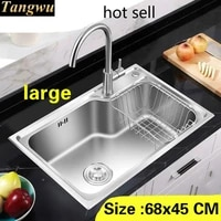 free shipping apartment luxury large kitchen single trough sink high quality 304 stainless steel hot sell 680x450 mm