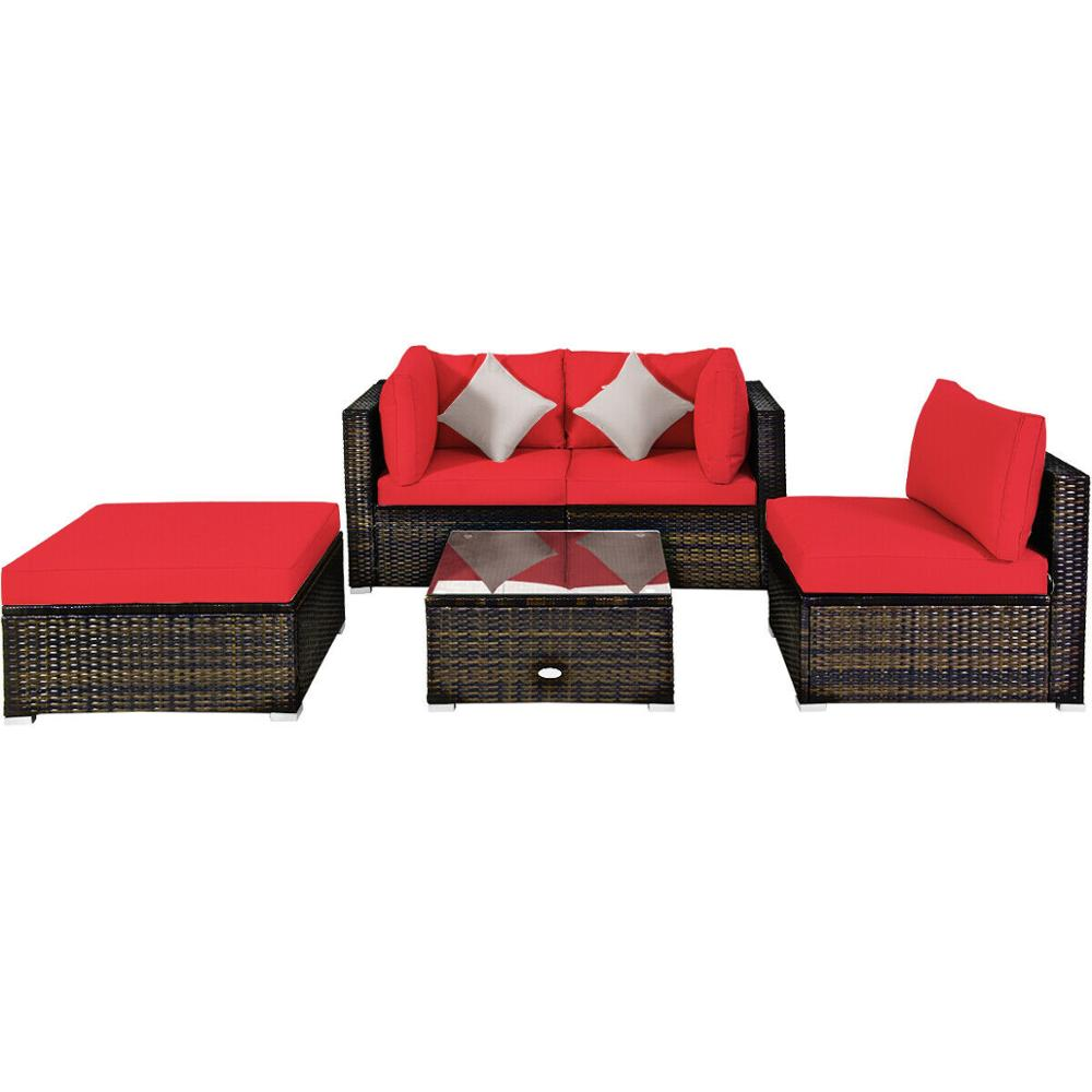 5PCS Outdoor Patio Rattan Furniture Set Sectional Conversation W/Red Cushions HW63849RE+
