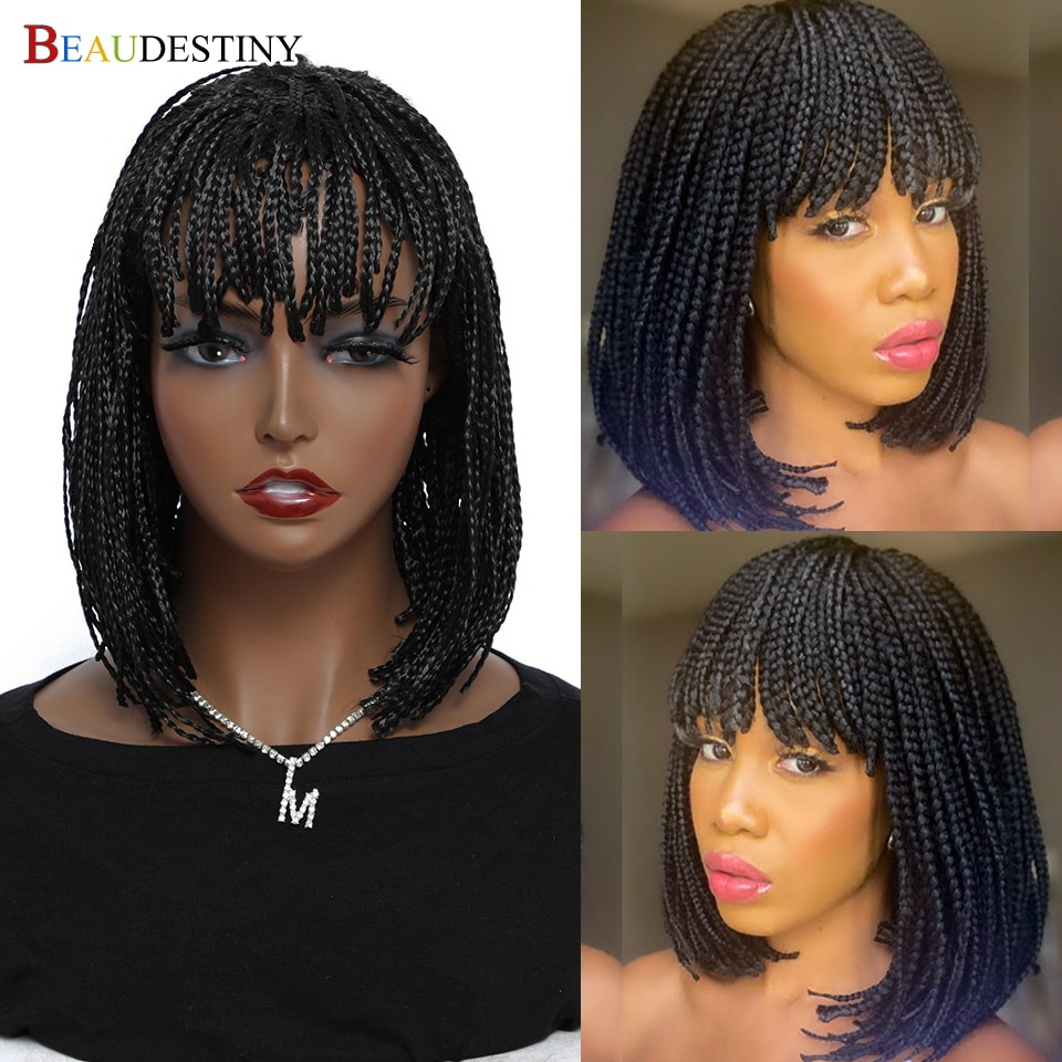 Beaudestiny Synthetic Braiding Hair Box Braid Wig With Bangs Short Bob Braided Wig For Black Women Synthetic Heat Resistant Wigs