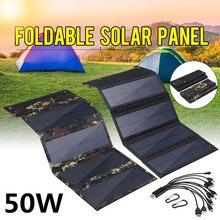 50 Вт Складная Панель солнечных батарей 5 в Солнечная энергия солнечные батареи банковский пакет USB 10в1 USB кабель Водонепроницаемый для телеф...