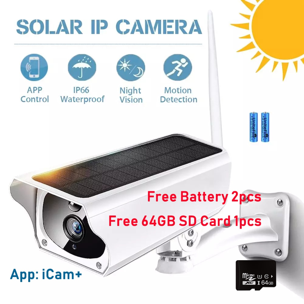 HONTUSEC Solar IP Camera Wifi Outdoor IP66 FHD 3MP Free Solar Power Battery PIR Alarm Free 64GB TF Card Slot IR Night Vision