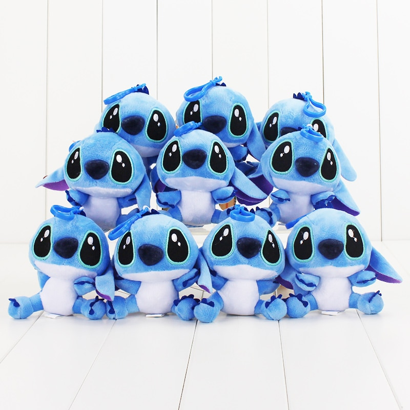 50pcs/set 10cm Lilo and Stitch Plush Toys Keychains Cute Stitch Animal Plush Doll Pendant