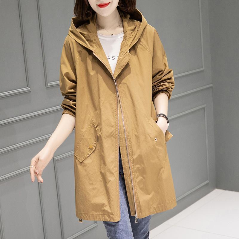 Новинка 2021, тонкое женское пальто, повседневная верхняя одежда, однотонная ветровка на молнии с капюшоном, Женский Тренч средней длины, паль...