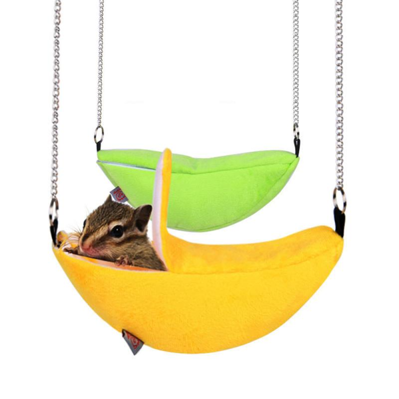 Mascota pájaro hámster hurón rata, ardilla hamaca colgante jaula tipo nido cama casa juguetes Banana diseño pequeño nido para animales