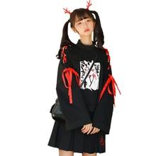 Japanische Cartoon Fuchs Mädchen Print Hoodie Harajuku Frauen Gothic Band Spitze Up Flare Hülse Kawaii Plus Samt Pullover Sweatshirt