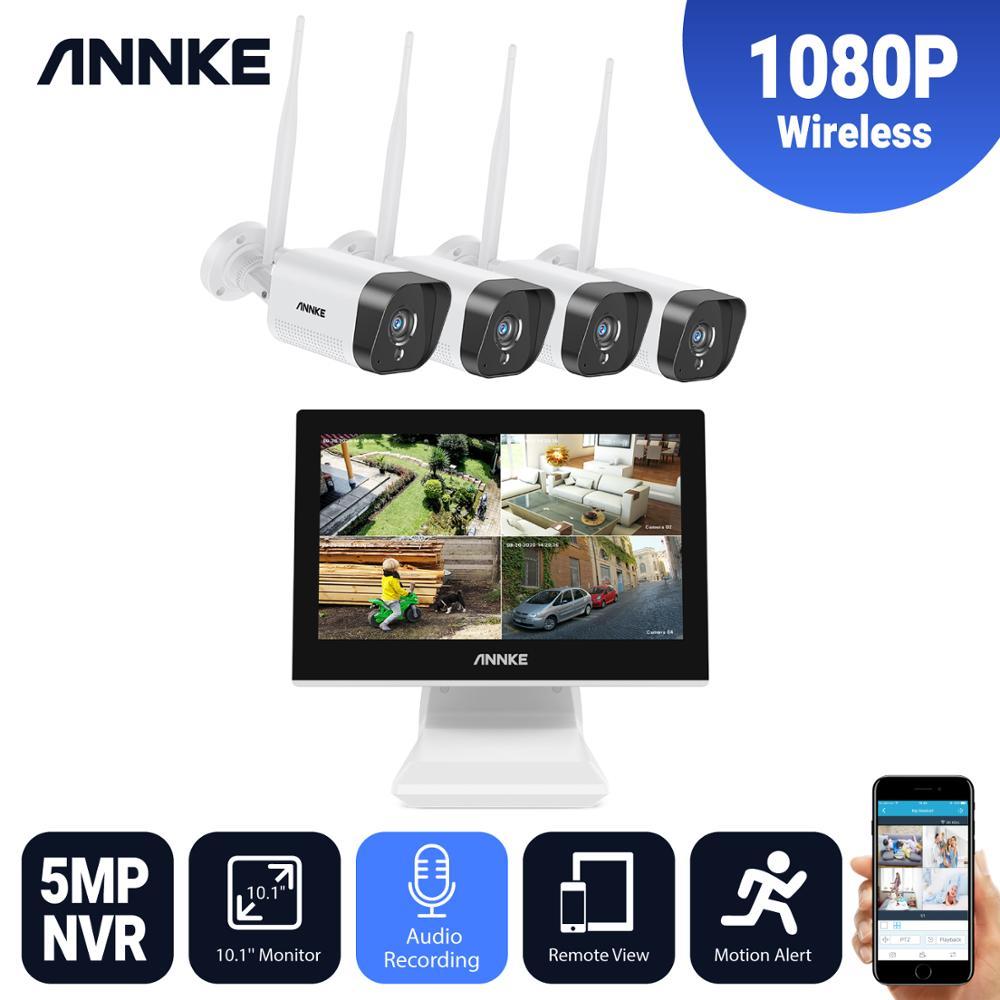 Система видеонаблюдения ANNKE, 4 шт., беспроводная система безопасности, 4 канала, FHD, 1080P, ЖК-экран 10,1 дюйма, NVR, 5 МП, IP-камеры