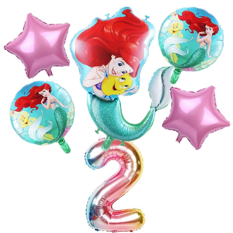 6pcs mermaid Ariel cartoon disney princess foil balloons 32Inch Number baby girl pink air baloes birthday party decor kids toys