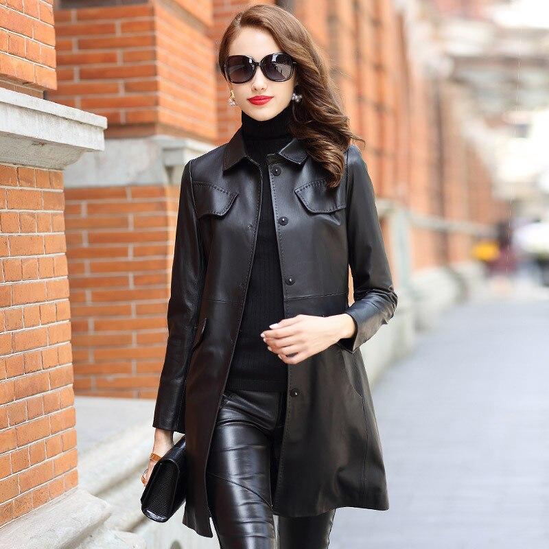 Black Slim Mid-Length Genuine Leather Women Fashion Coat Classic Real Sheepskin Jackets with Pockets Sashes Spring Overcoat