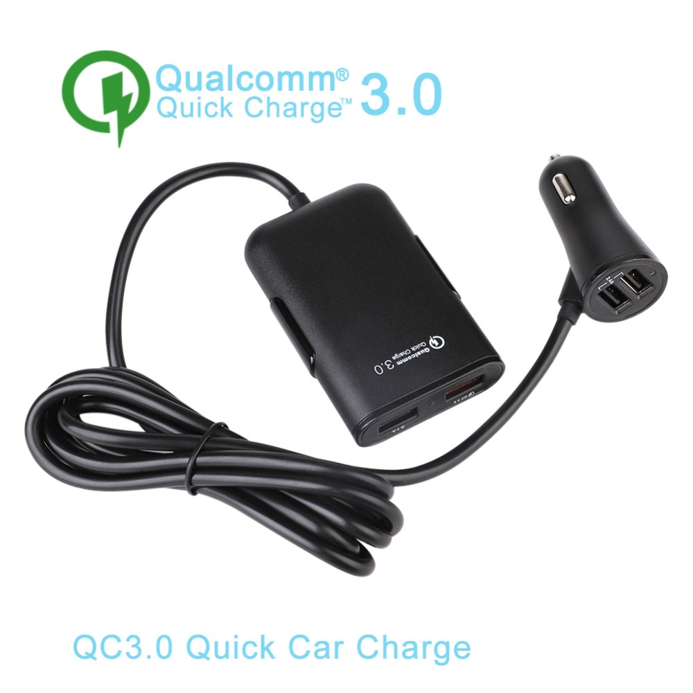 Cargador de coche de carga rápida de 4 puertos USB 3,0 para iPhone, Huawei, cargador de teléfono rápido para Xiaomi y Samsung de 36W 8A