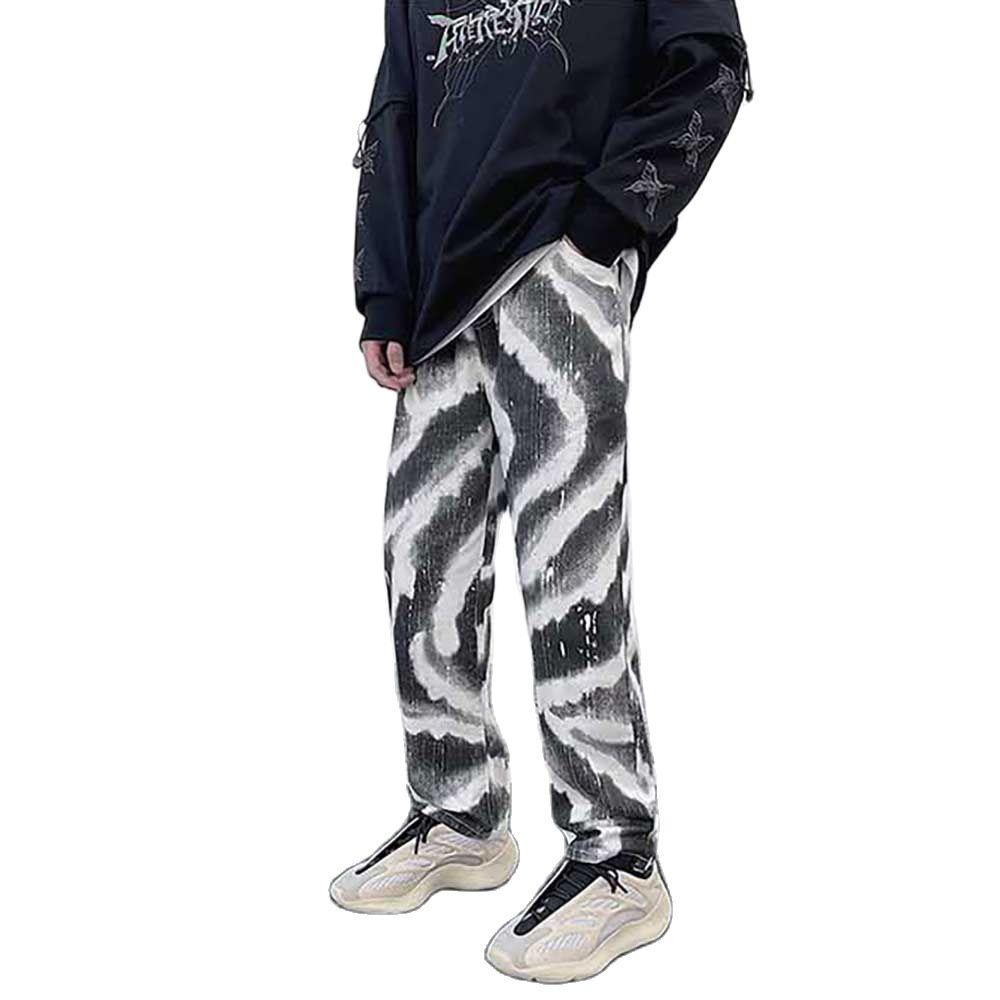 Новые модные камуфляжные джинсы, Мужские повседневные полосатые джинсовые брюки, прямые брюки, Свободные мешковатые уличные штаны, джинсы-...