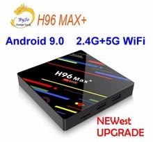 Le plus nouveau H96 Max + Android TV Box Android 9.0 2.4G 5G WiFi Iptv 4K box 4G 64G ou 4G 32G ou 2G 16G voix GROS contrôle RK3328