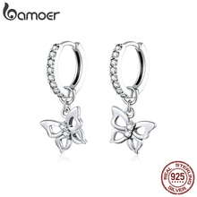 Bamoer GXE833 925 Sterling Silber Elegante Höhlte-out Schmetterling Hoop Ohrringe Trendy Frauen Edlen Schmuck Hypoallergen Ohrringe