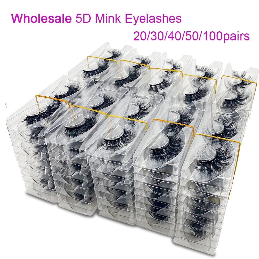 20/50/100Pairs Wholesale Mink Lashes 3D Mink Eyelashes 100% Cruelty free Lashes Handmade Reusable Natural False Lashes Makeup