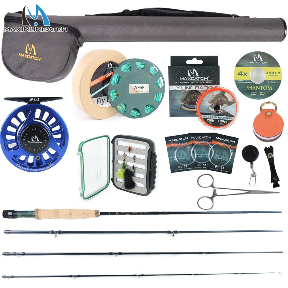 Maximumcatch 2/3/4WT Nymph Fly Fishing Rod Kit 10FT Moderate Fast Action Nymph Fly Rod Reel Line Box Flies Combo