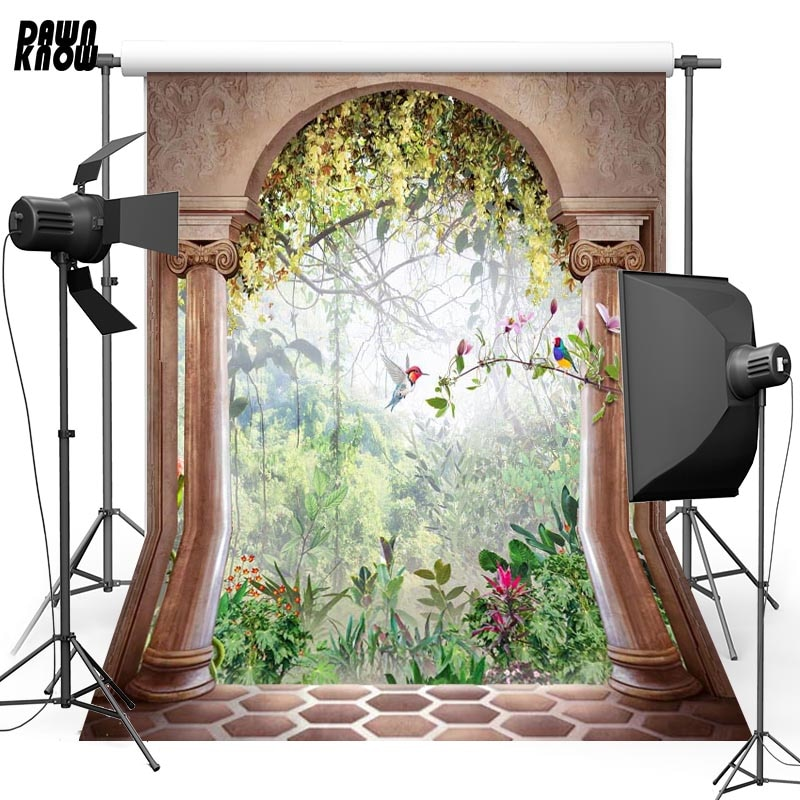 DAWNKNOW Arch Bird Vinyl Photography Background For Family Forest New Fabric Polyester Backdrop For Wedding Photo Studio G625