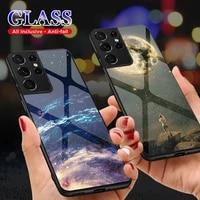 Custodia protettiva in vetro per Samsung Galaxy S21 Plus S21 custodia Ultra 5G S 21 animali cielo stellato motivo Cover paraurti in Silicone