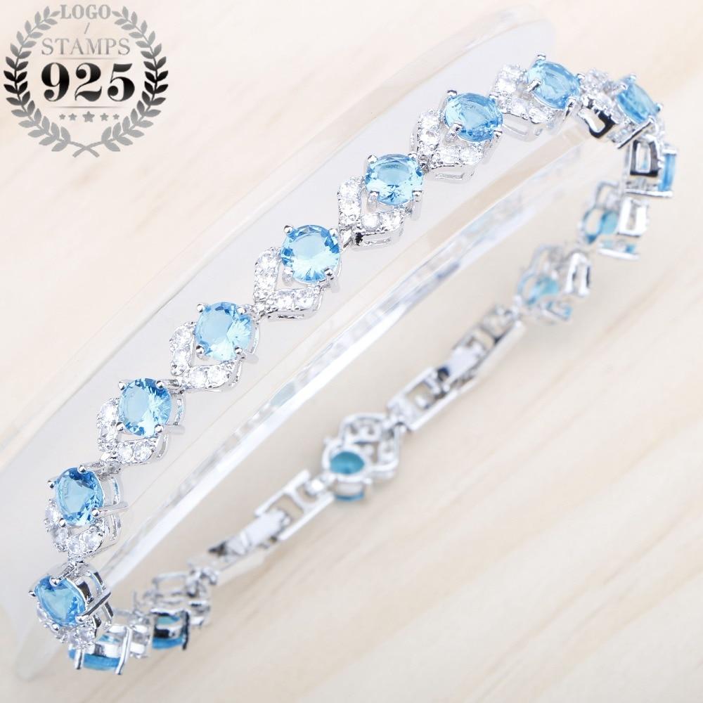 Charming Bracelet Light Blue Cubic Zircon White Stones Silver 925 Jewelry 18+2CM Bracelet  For Women Free Jewelry Box