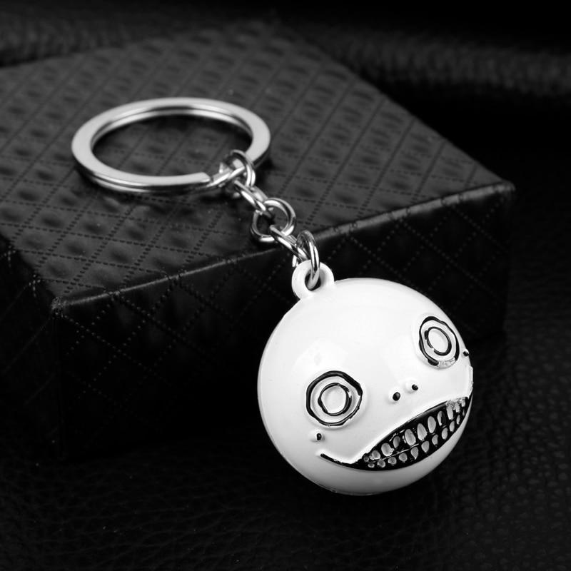 3d pingente chaveiro moda esmalte chaveiro jóias filme nier automata tema chaveiro bonito coringa sorriso rosto forma chaveiros