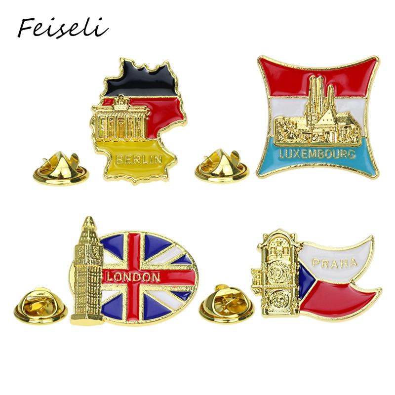 Feiseli, Чехия, Люксембург, Лондон, большой бен, Берлинская брошь для мужчин, женщин, мужчин, путешествия, сувенир, Декор, металлический значок, отворот, булавка, подарок