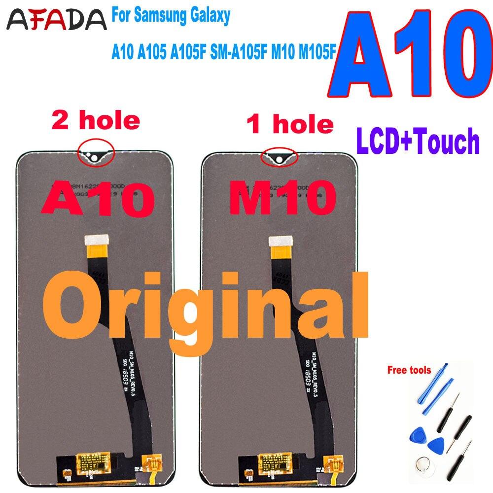 الأصلي لسامسونج غالاكسي A10 A105 A105F SM-A105F LCD عرض M10 M105 M105F LCD تعمل باللمس استبدال محول الأرقام الجمعية